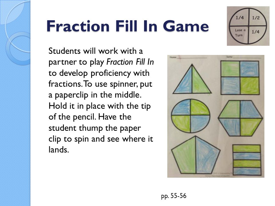 Fraction Fill In Game