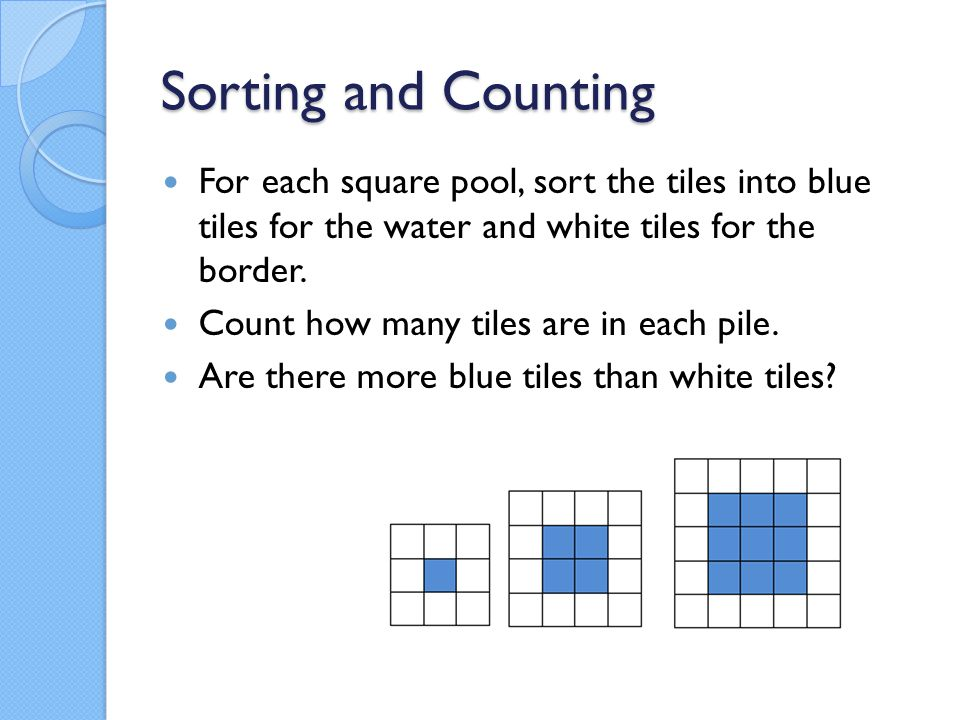 Sorting and Counting For each square pool, sort the tiles into blue tiles for the water and white tiles for the border.