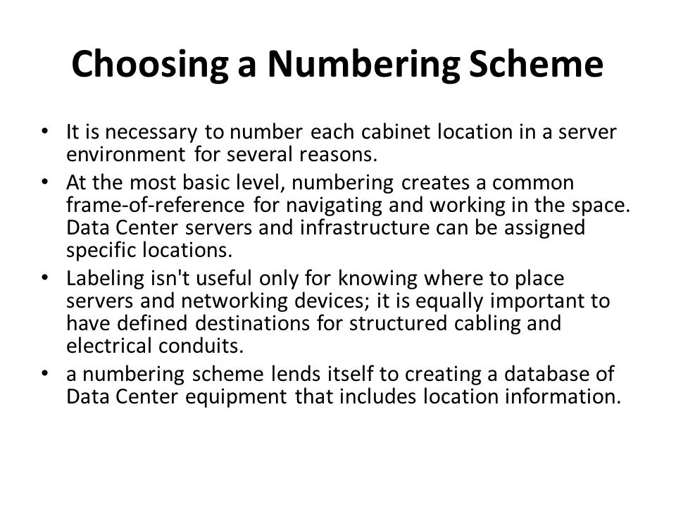 Choosing a Numbering Scheme