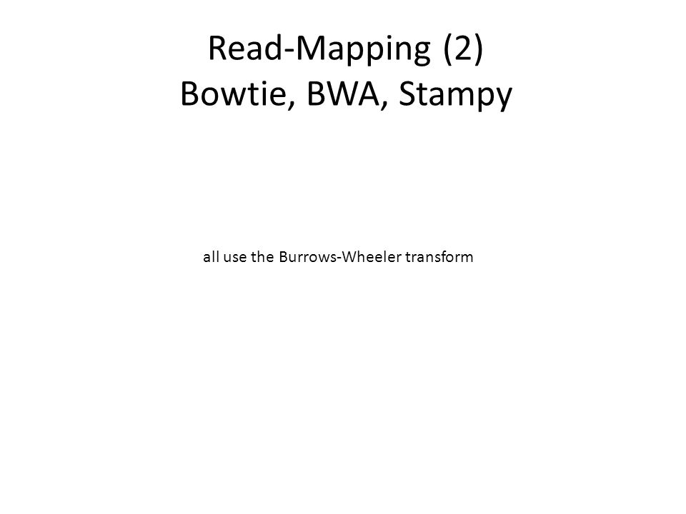Read-Mapping (2) Bowtie, BWA, Stampy
