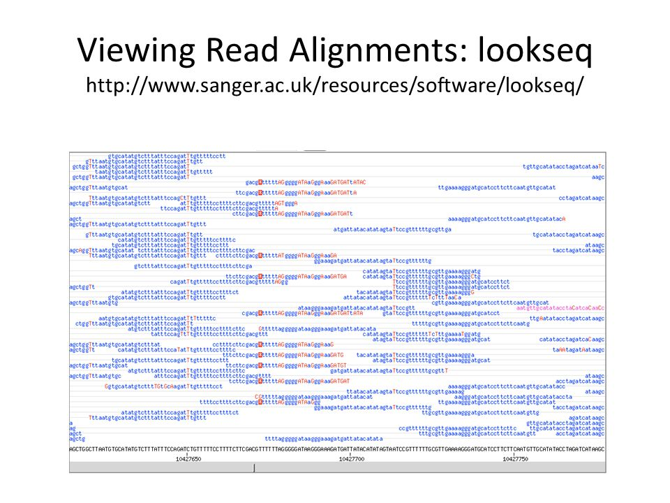 Viewing Read Alignments: lookseq http://www. sanger. ac
