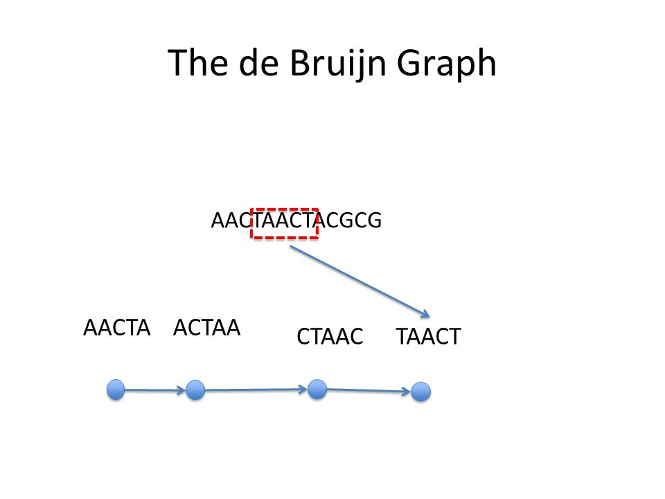 The de Bruijn Graph AACTAACTACGCG AACTA ACTAA CTAAC TAACT
