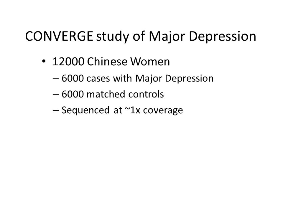 CONVERGE study of Major Depression