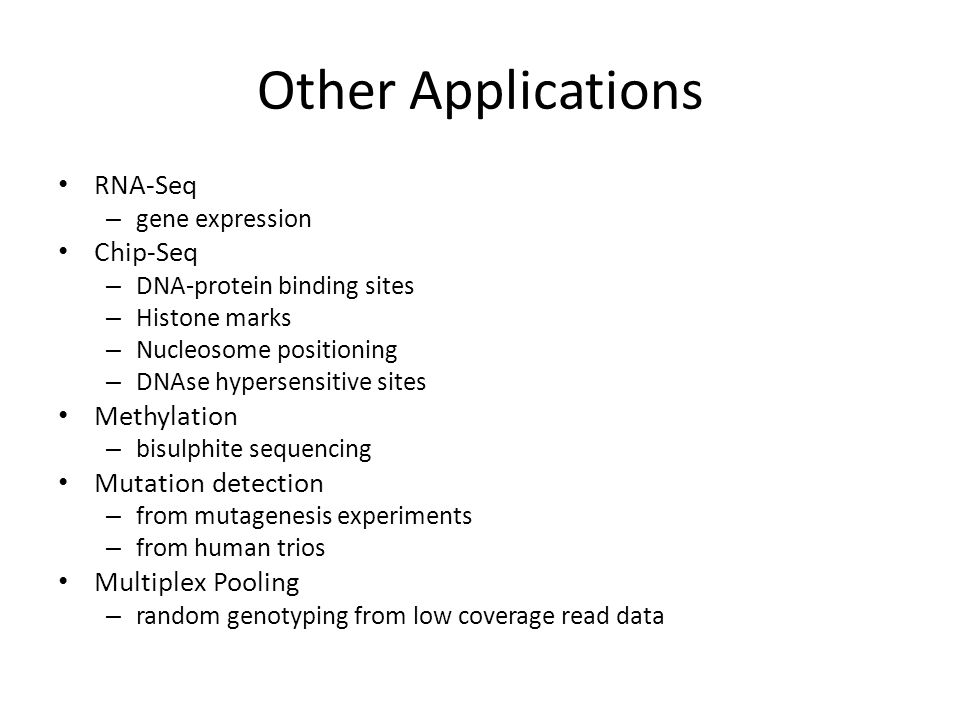 Other Applications RNA-Seq Chip-Seq Methylation Mutation detection