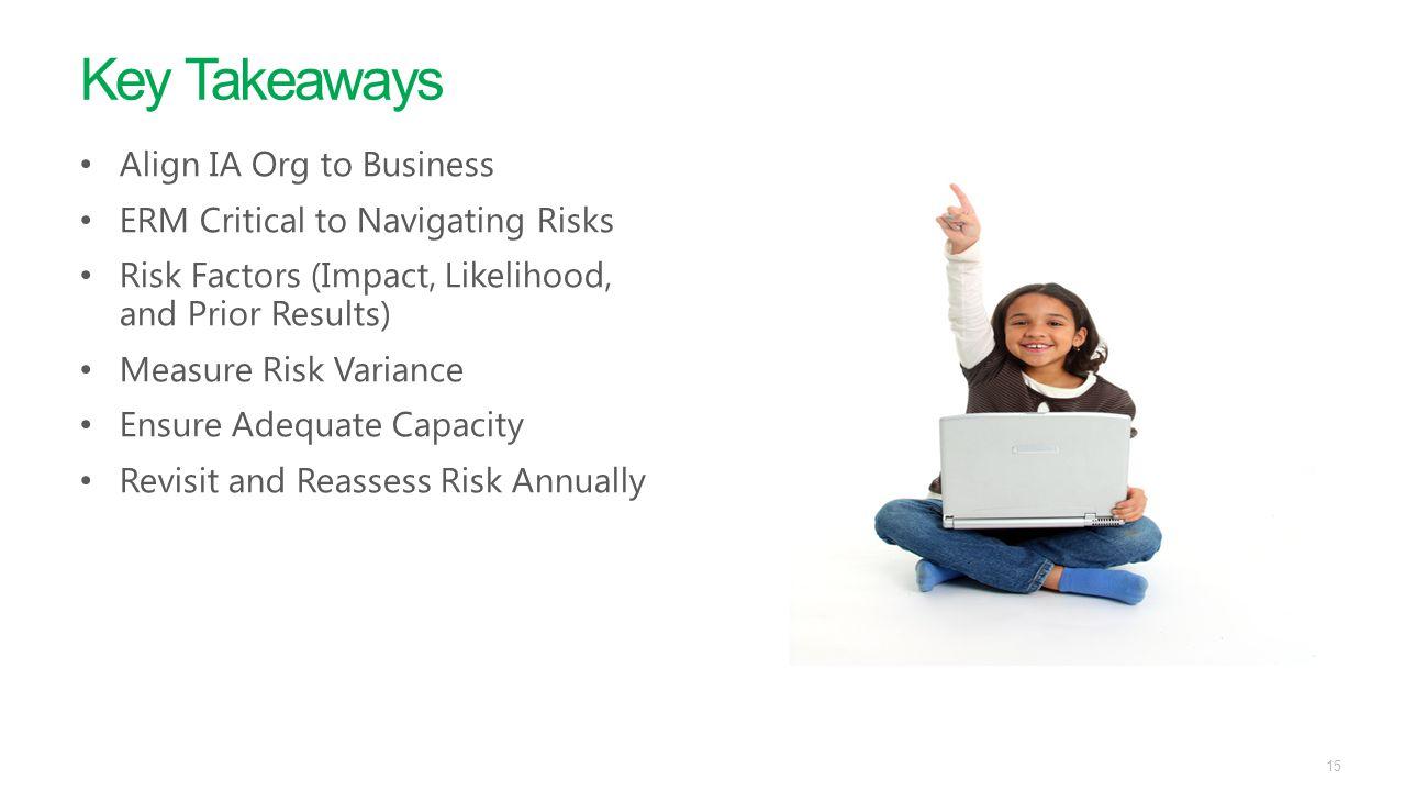Key Takeaways Align IA Org to Business