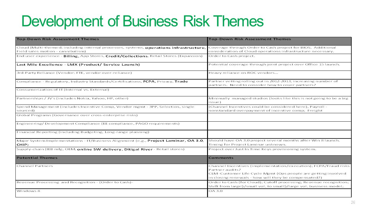 Development of Business Risk Themes