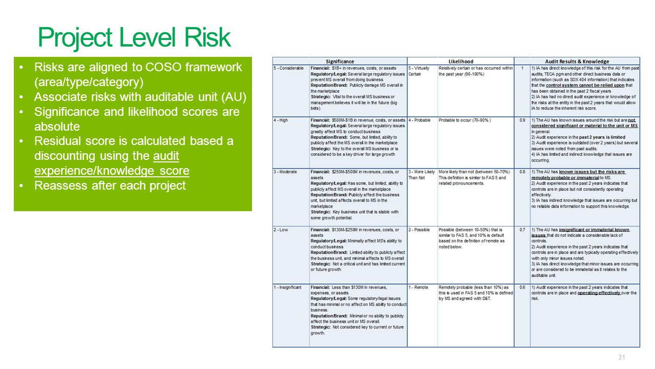 Project Level Risk Risks are aligned to COSO framework (area/type/category) Associate risks with auditable unit (AU)
