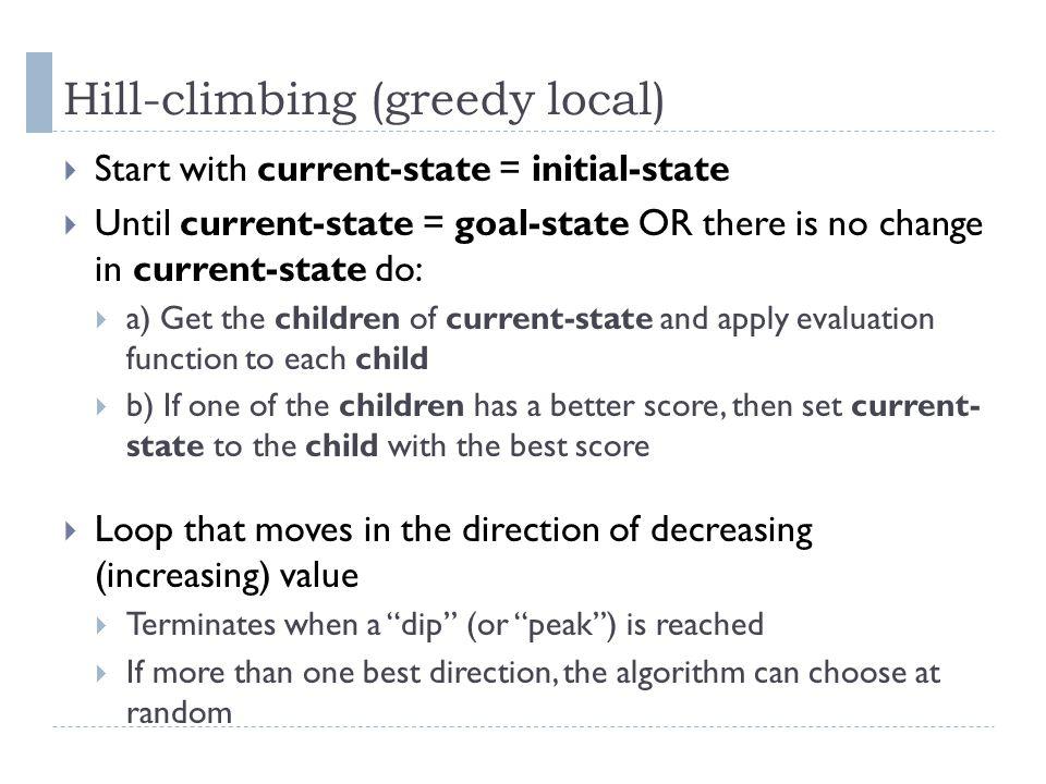 Hill-climbing (greedy local)