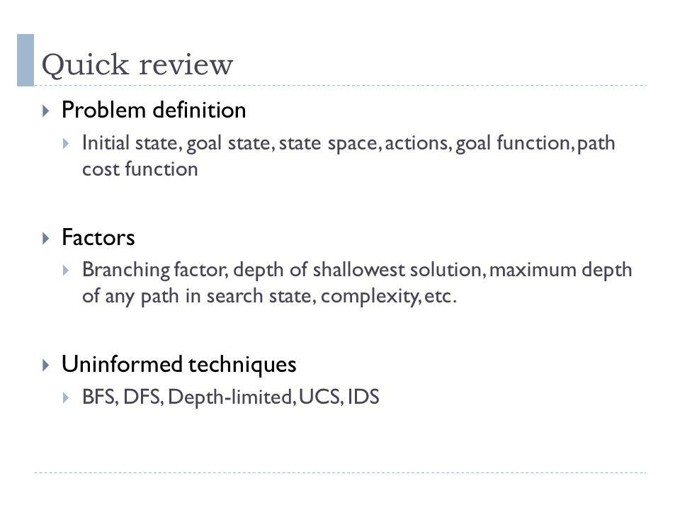 Quick review Problem definition Factors Uninformed techniques