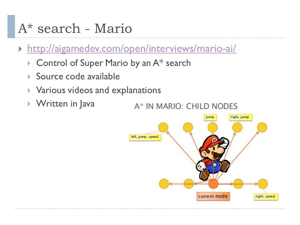 A* search - Mario http://aigamedev.com/open/interviews/mario-ai/
