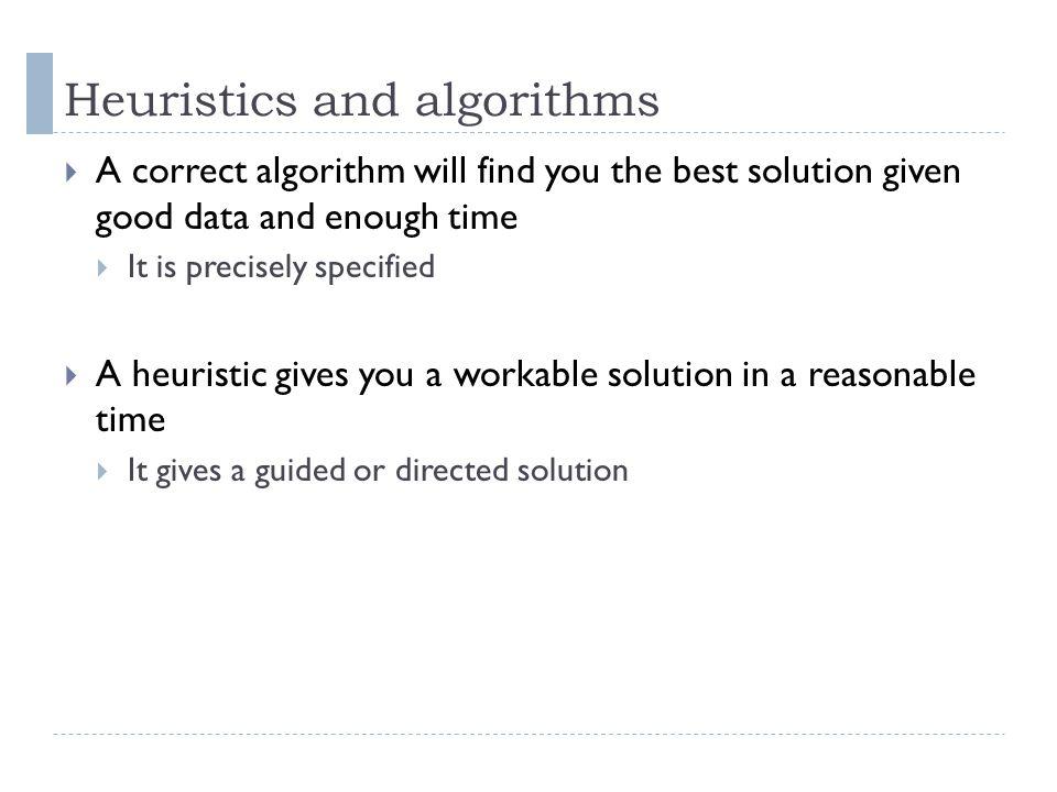 Heuristics and algorithms