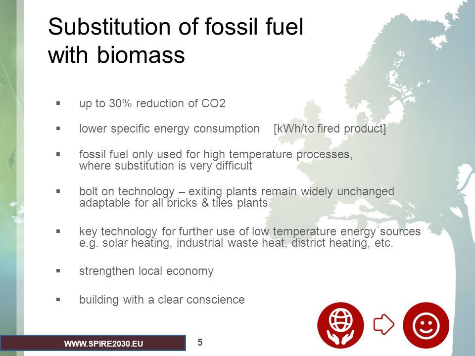 Substitution of fossil fuel with biomass