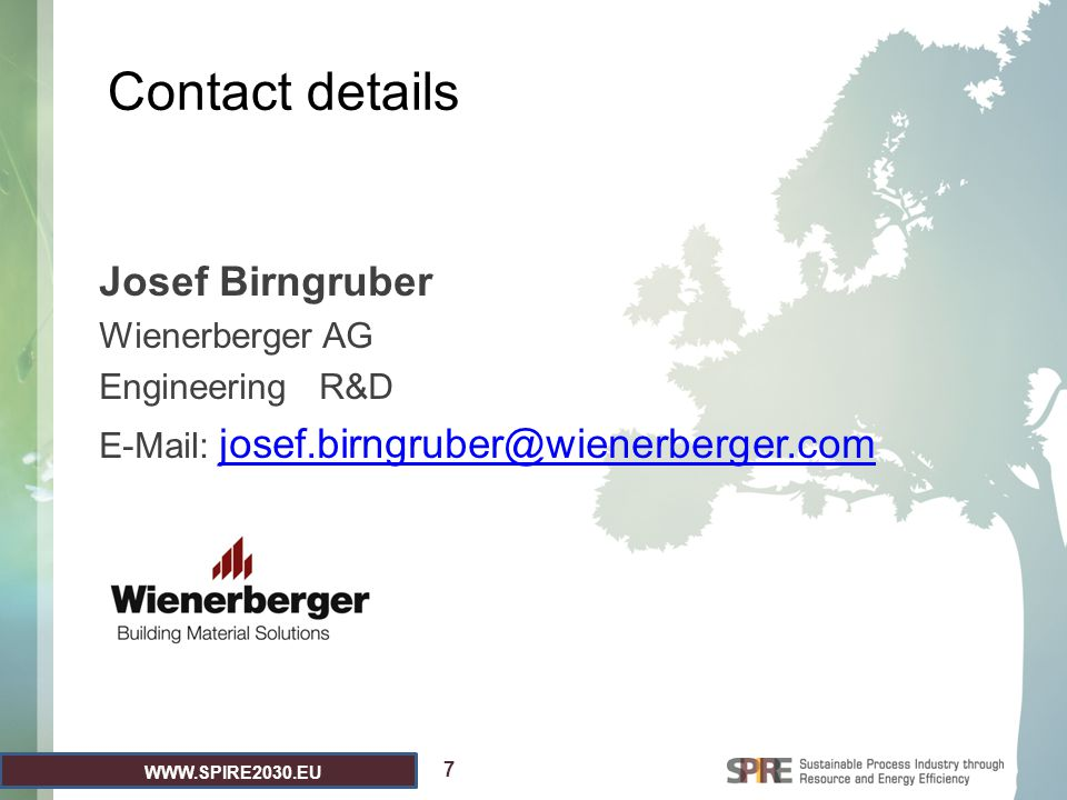 Contact details Josef Birngruber Wienerberger AG Engineering R&D