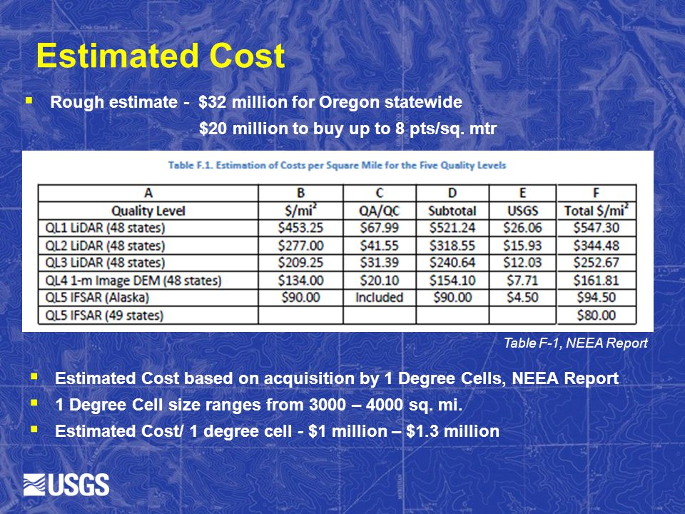 Estimated Cost Rough estimate - $32 million for Oregon statewide