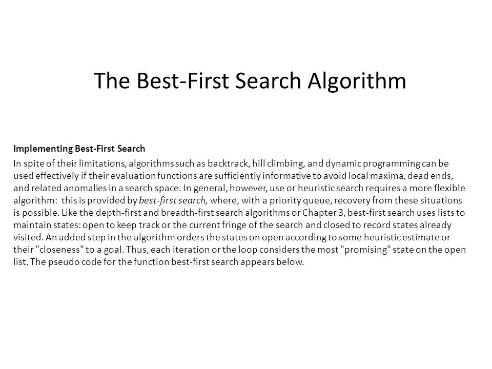 The Best-First Search Algorithm