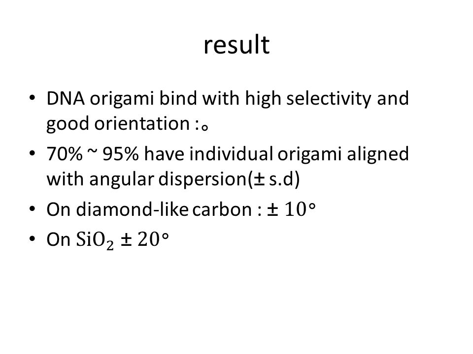 result DNA origami bind with high selectivity and good orientation :。