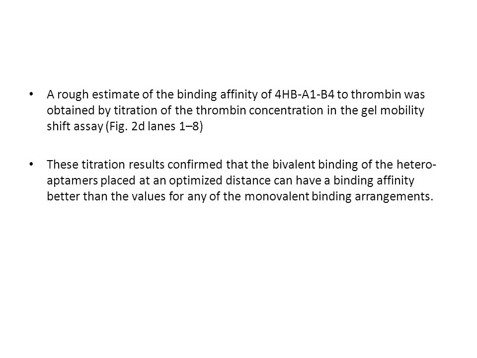 A rough estimate of the binding affinity of 4HB-A1-B4 to thrombin was obtained by titration of the thrombin concentration in the gel mobility shift assay (Fig. 2d lanes 1–8)