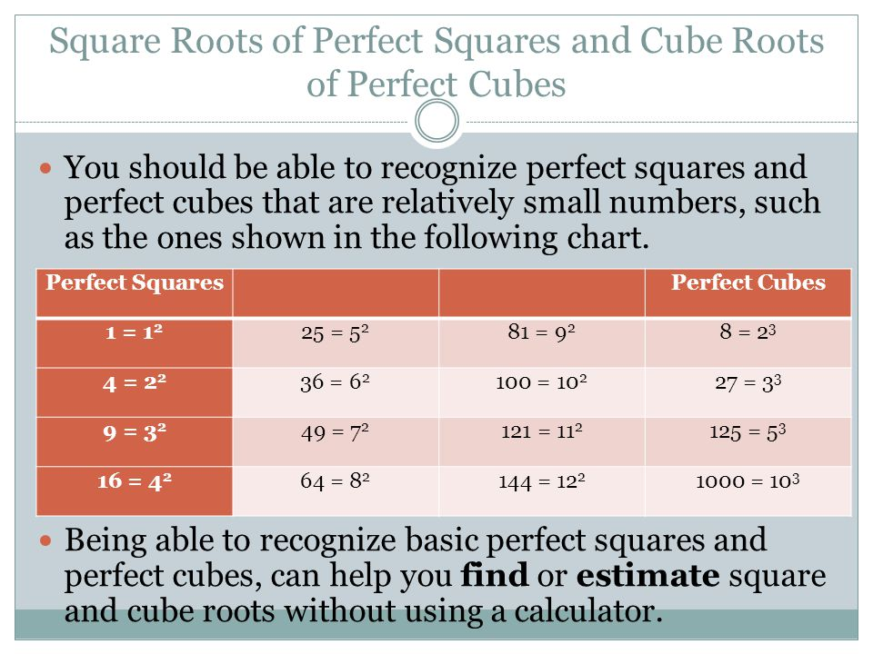 Square Roots of Perfect Squares and Cube Roots of Perfect Cubes