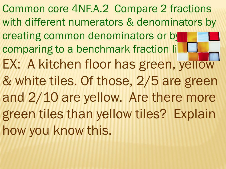 Common core 4NF.A.2 Compare 2 fractions with different numerators & denominators by creating common denominators or by comparing to a benchmark fraction like ½