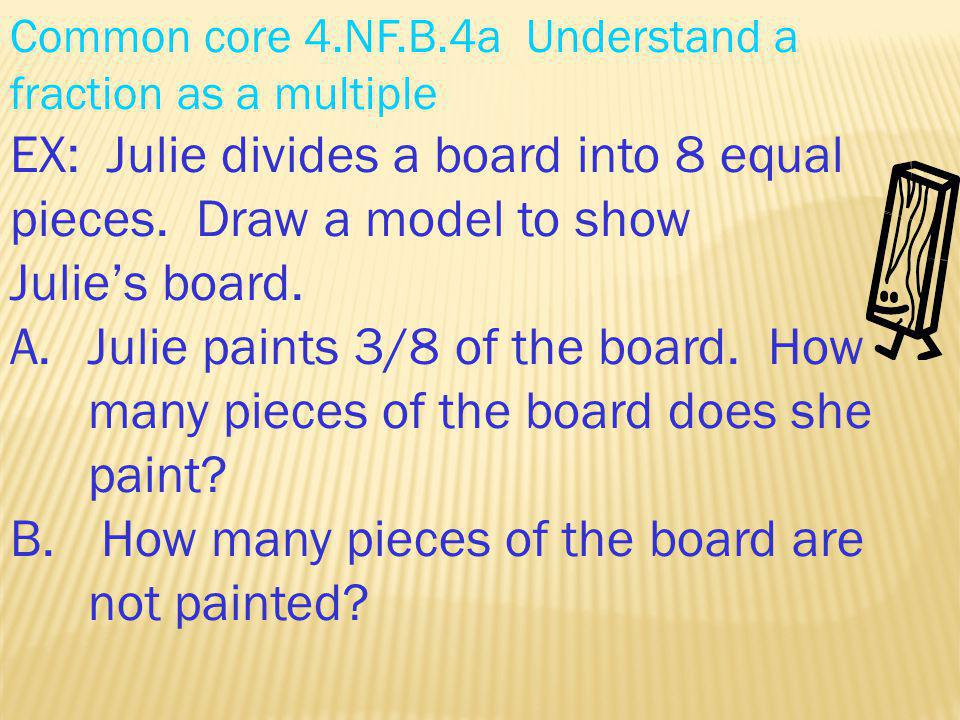 EX: Julie divides a board into 8 equal pieces. Draw a model to show