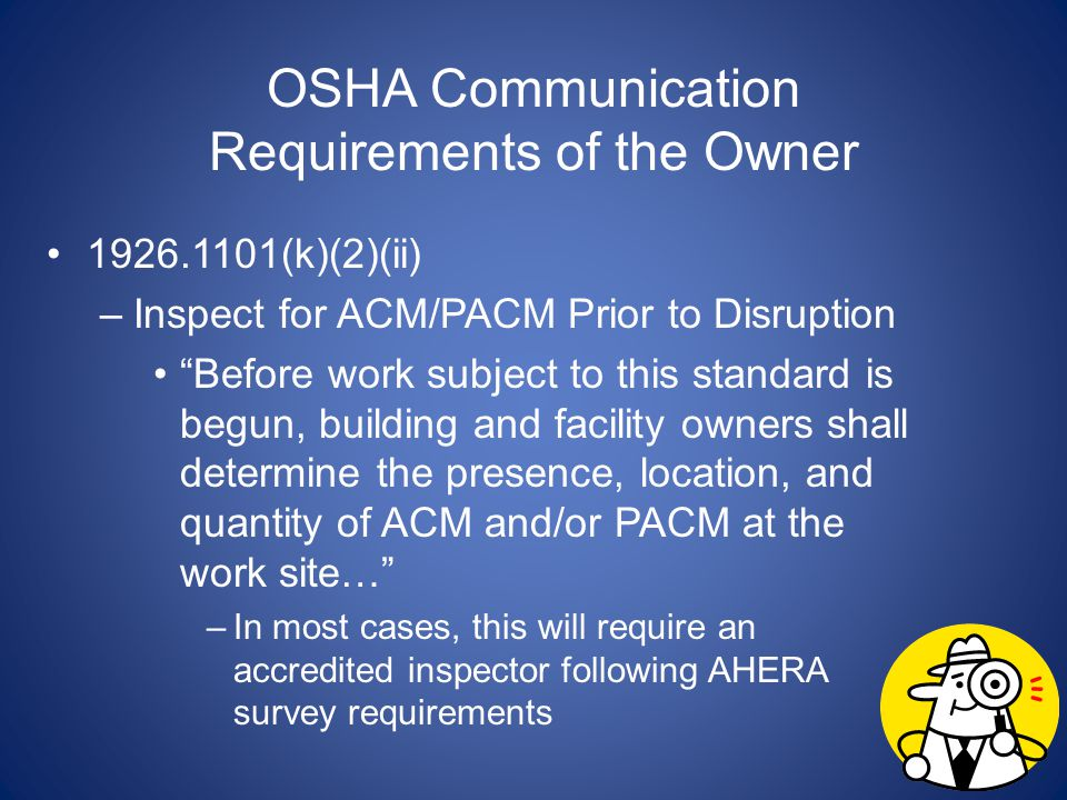 OSHA Communication Requirements of the Owner