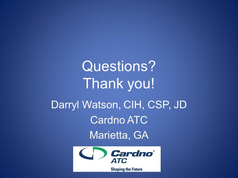 Darryl Watson, CIH, CSP, JD Cardno ATC Marietta, GA
