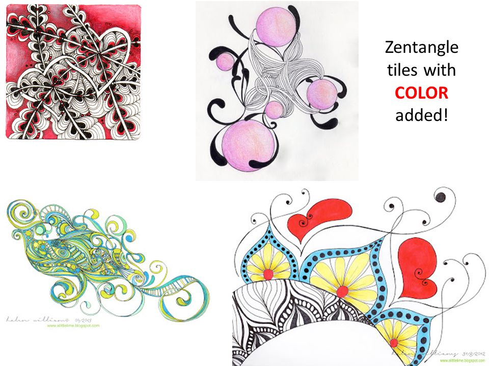 Zentangle tiles with COLOR added!