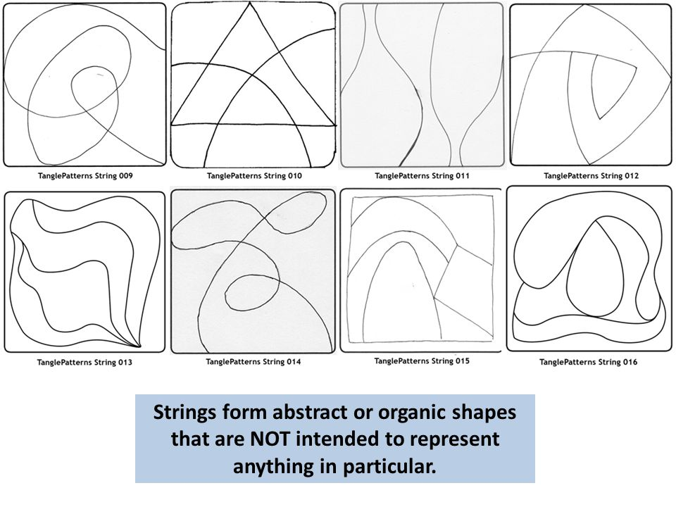 Strings form abstract or organic shapes that are NOT intended to represent anything in particular.