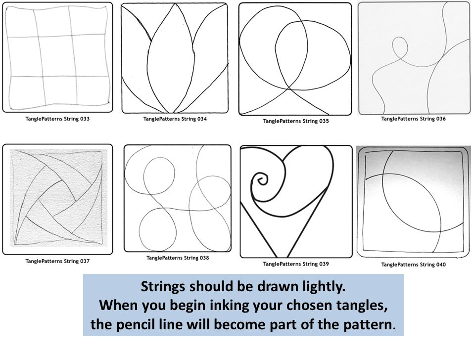 Strings should be drawn lightly