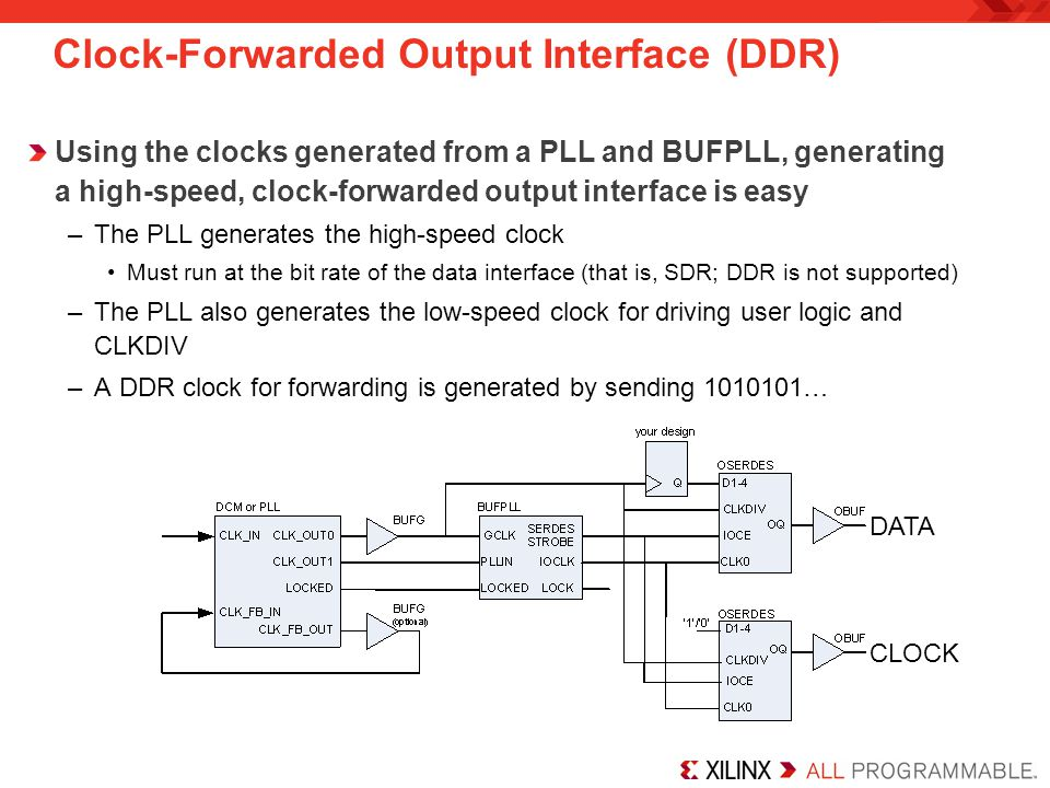Clock-Forwarded Output Interface (DDR)
