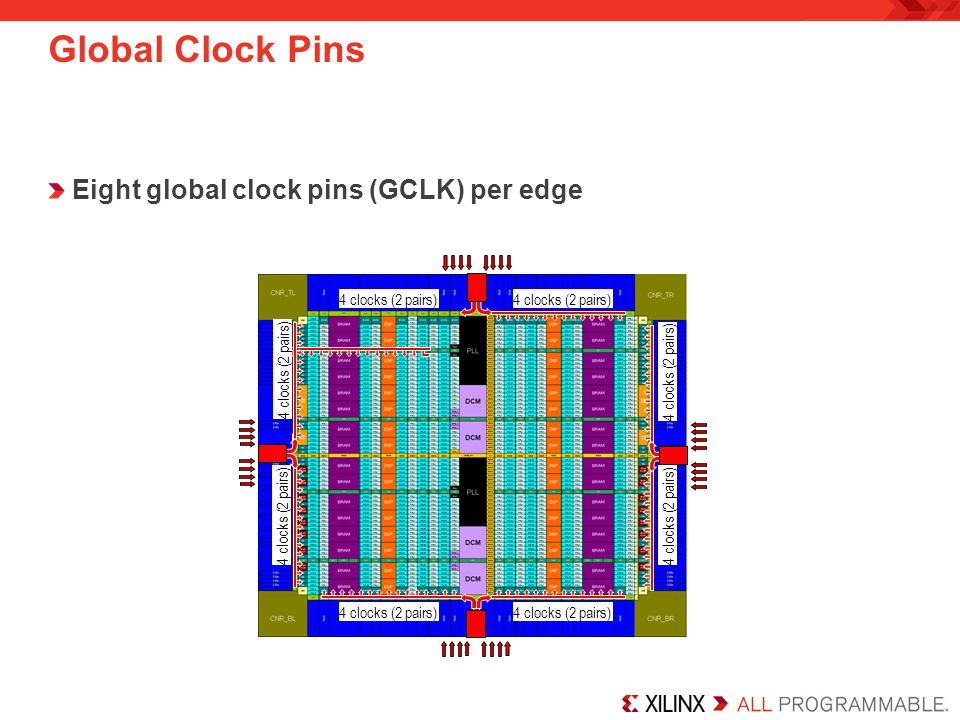 Global Clock Pins Eight global clock pins (GCLK) per edge