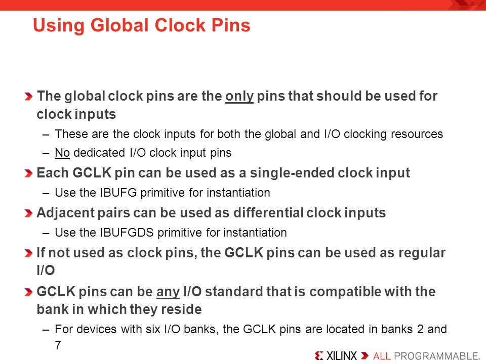 Using Global Clock Pins