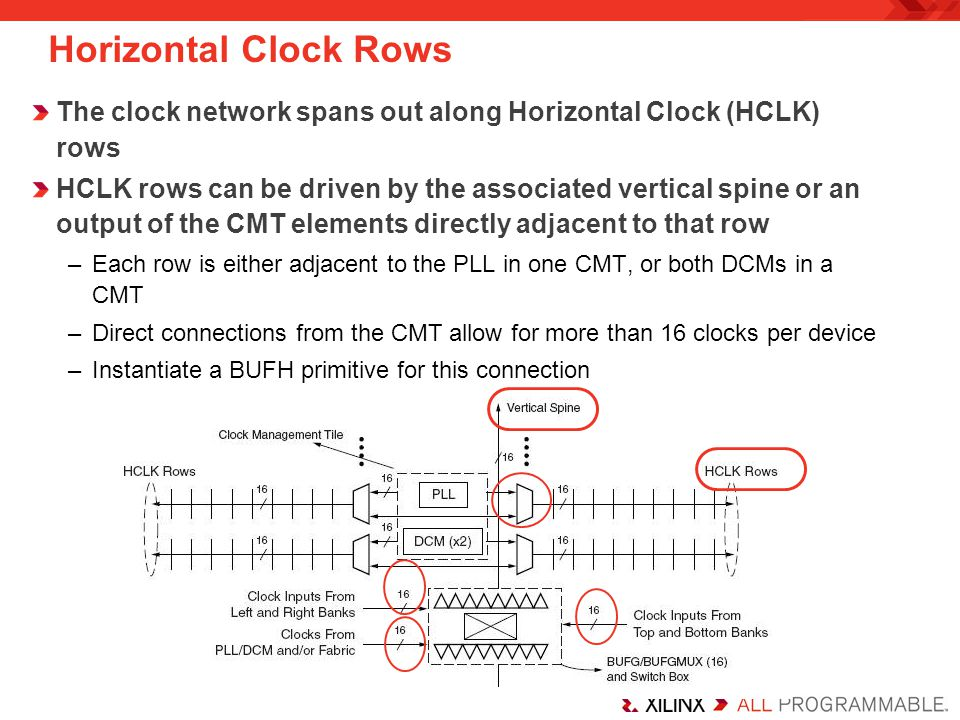 Horizontal Clock Rows The clock network spans out along Horizontal Clock (HCLK) rows.