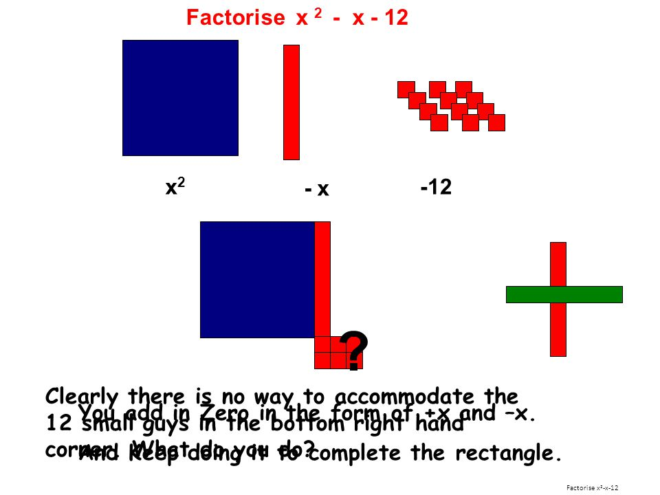 Factorise x 2 - x - 12 x2. - x. -12.