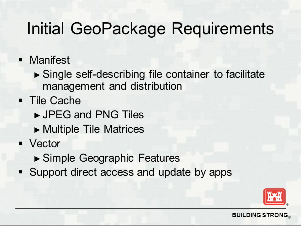 Initial GeoPackage Requirements