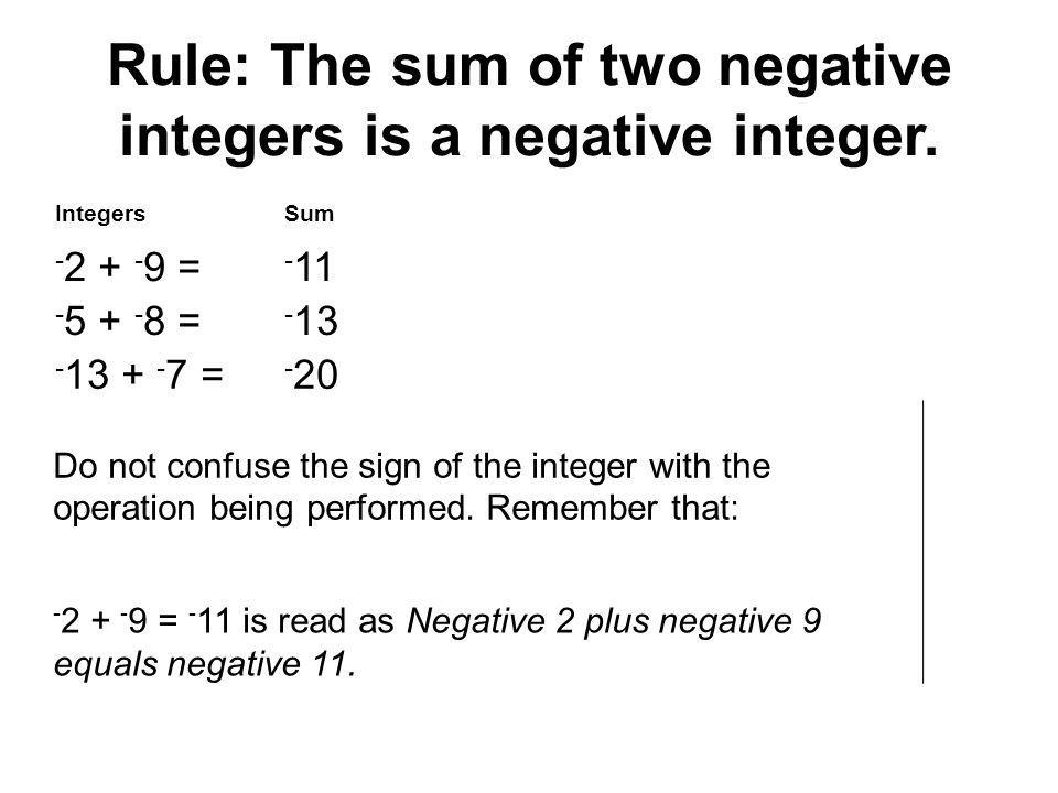 Rule: The sum of two negative integers is a negative integer.