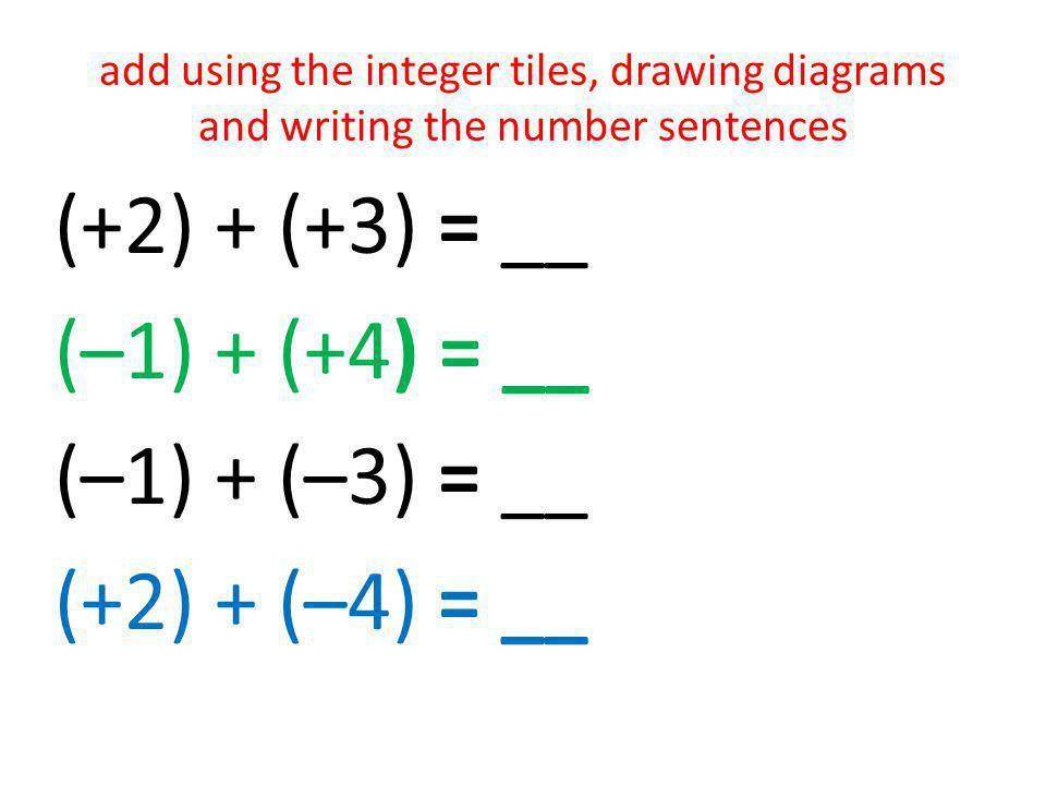 (+2) + (+3) = __ (–1) + (+4) = __ (–1) + (–3) = __ (+2) + (–4) = __