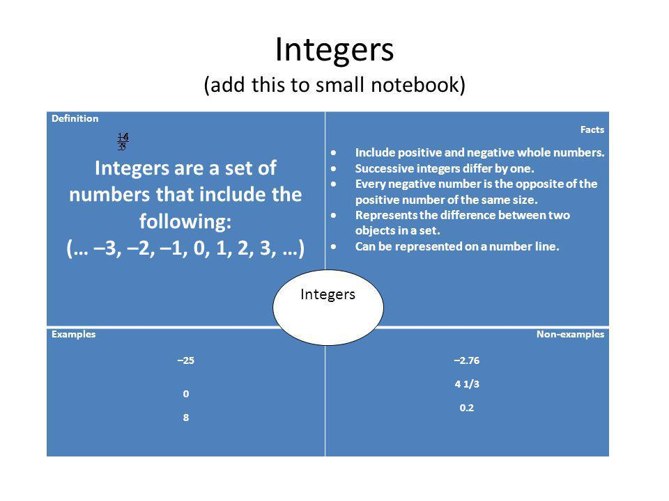 Integers (add this to small notebook)