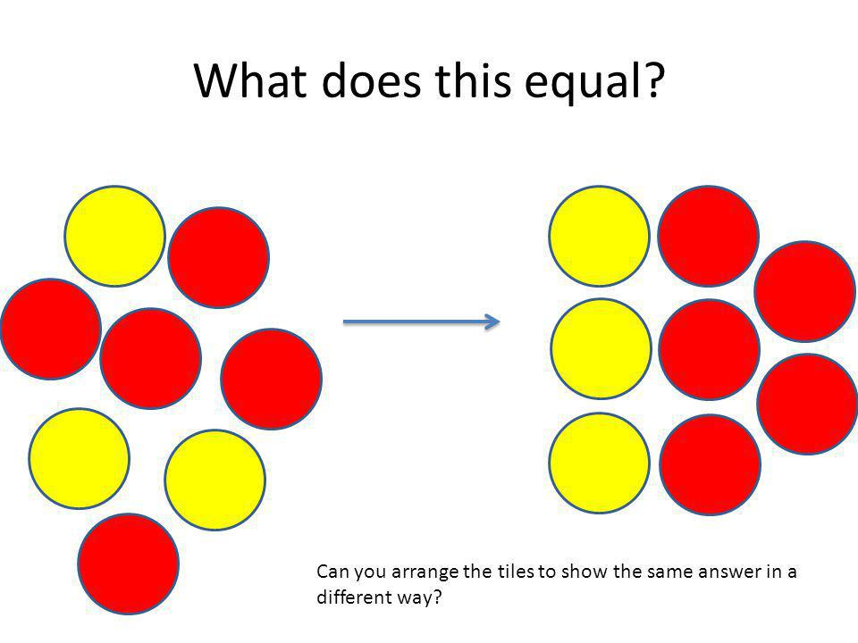 What does this equal Can you arrange the tiles to show the same answer in a different way