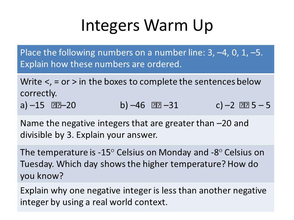 Integers Warm Up Place the following numbers on a number line: 3, –4, 0, 1, –5. Explain how these numbers are ordered.