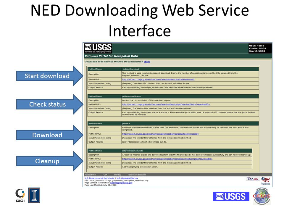 NED Downloading Web Service Interface