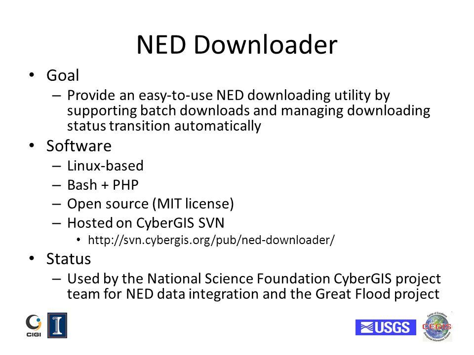 NED Downloader Goal Software Status