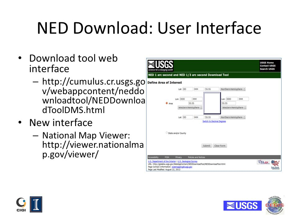 NED Download: User Interface