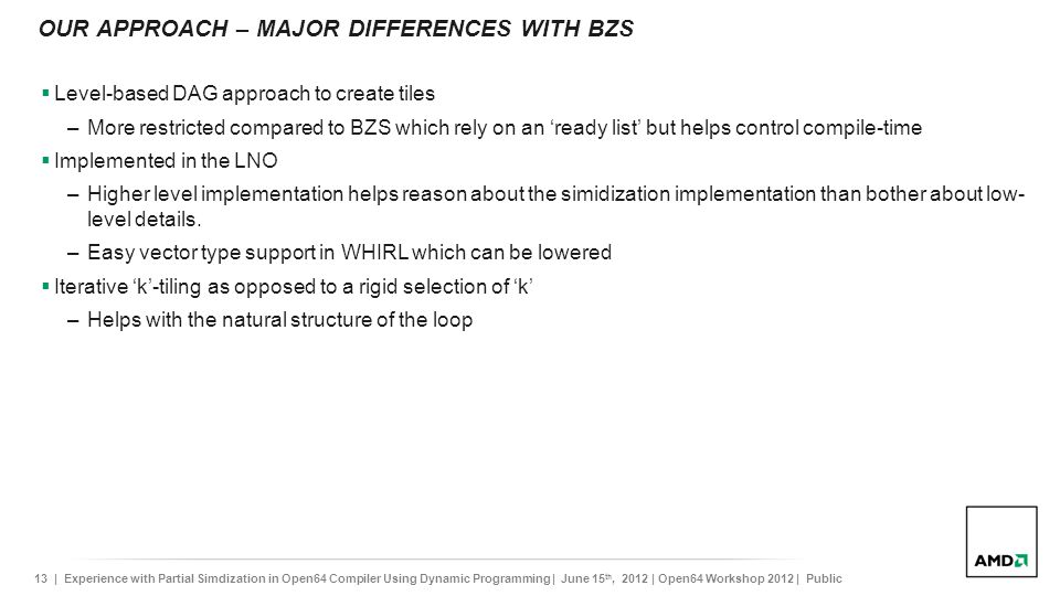 OUR APPROACH – Major differences with BZS