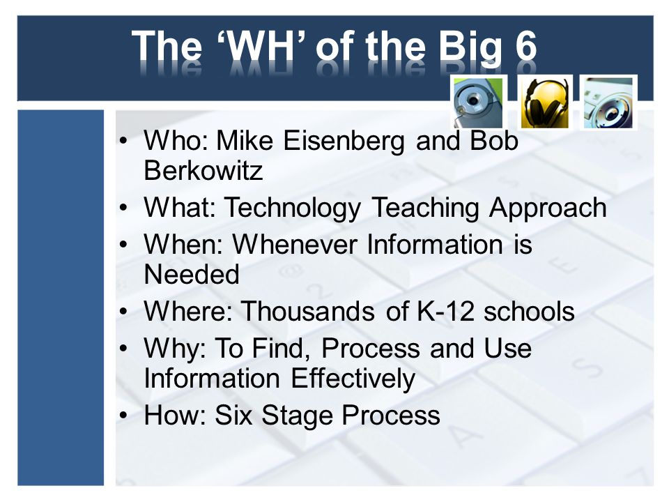 The 'WH' of the Big 6 Who: Mike Eisenberg and Bob Berkowitz