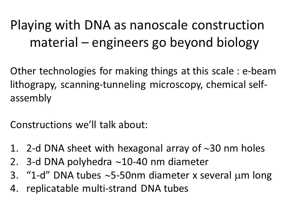 Playing with DNA as nanoscale construction