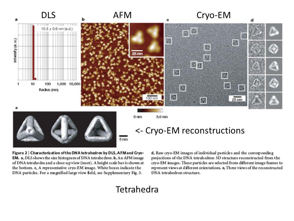 DLS AFM Cryo-EM <- Cryo-EM reconstructions Tetrahedra