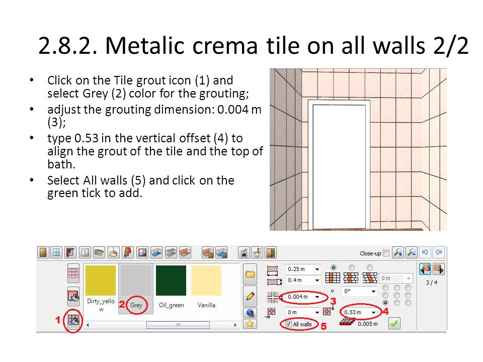 2.8.2. Metalic crema tile on all walls 2/2