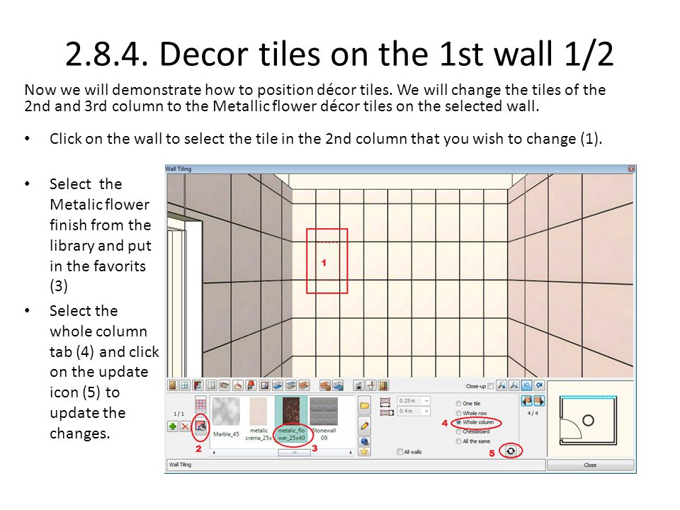 2.8.4. Decor tiles on the 1st wall 1/2