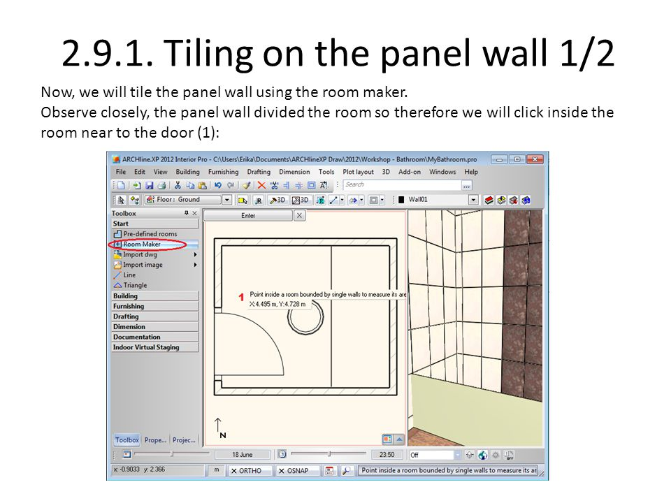 2.9.1. Tiling on the panel wall 1/2